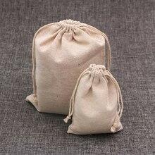 100 stks/partij Natuurlijke Kleur Katoen Tassen Kleine Linnen Trekkoord Gift Bag Mousseline Pouch Armband Sieraden Verpakking Tassen Pouches