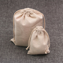 100pcs/lot Natural Color Cotton Bags Small Linen Drawstring Gift Bag Muslin Pouch Bracelet Jewelry Packaging Bags Pouches