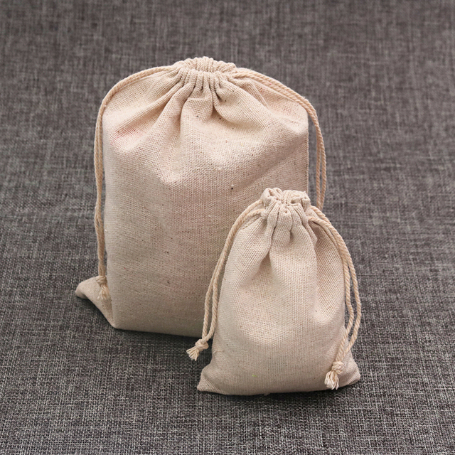 100pcs/lot Natural Color Cotton Bags Small Linen Drawstring Gift Bag Muslin Pouc