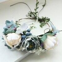 แต่งงานเจ้าสาวใหญ่กุหลาบดอกไม้มงกุฎH Airbandแต่งงานดอกไม้คาดศีรษะพวงมาลัยเทศกาลดอกไม้พวงหรี...