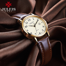 Top Julius Womens Watch Japan Quartz Hours Auto Date Fine Fashion Clock Leather Strap Girls Retro Birthday Gift Box 508