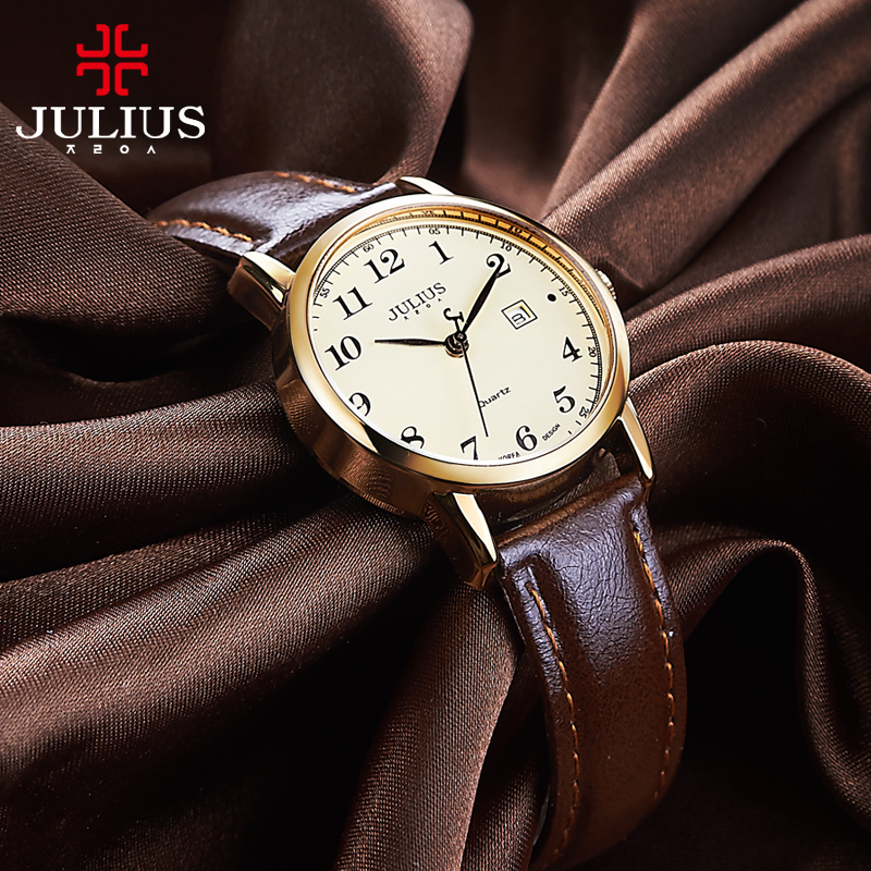 Top Julius Women's Watch Japan Quartz Hours Auto Date Fine Fashion Woman Clock Real Leather Strap Girl's Retro Birthday Gift Box-in Women's Watches from Watches