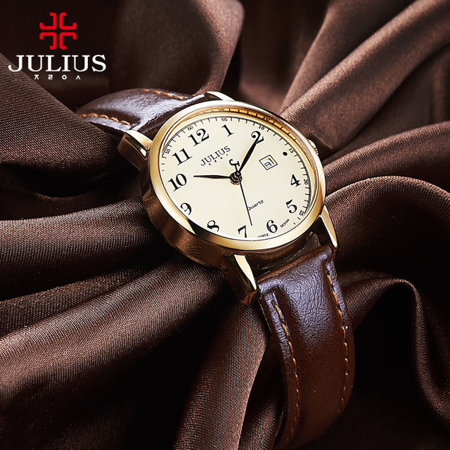 Top Julius Womens Watch Japan Quartz Hours Auto Date Fine Fashion Woman Clock Real Leather Strap Girls Retro Birthday Gift Box