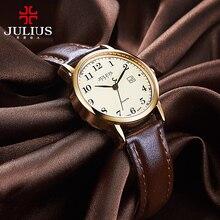 Üst Julius kadın İzle Japonya Kuvars Saat Otomatik Tarih Ince Moda Saat Deri Kayış kızın Retro Doğum Günü Hediye kutu 508