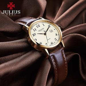 Image 1 - Üst Julius kadın İzle Japonya Kuvars Saat Otomatik Tarih Ince Moda Saat Deri Kayış kızın Retro Doğum Günü Hediye kutu 508