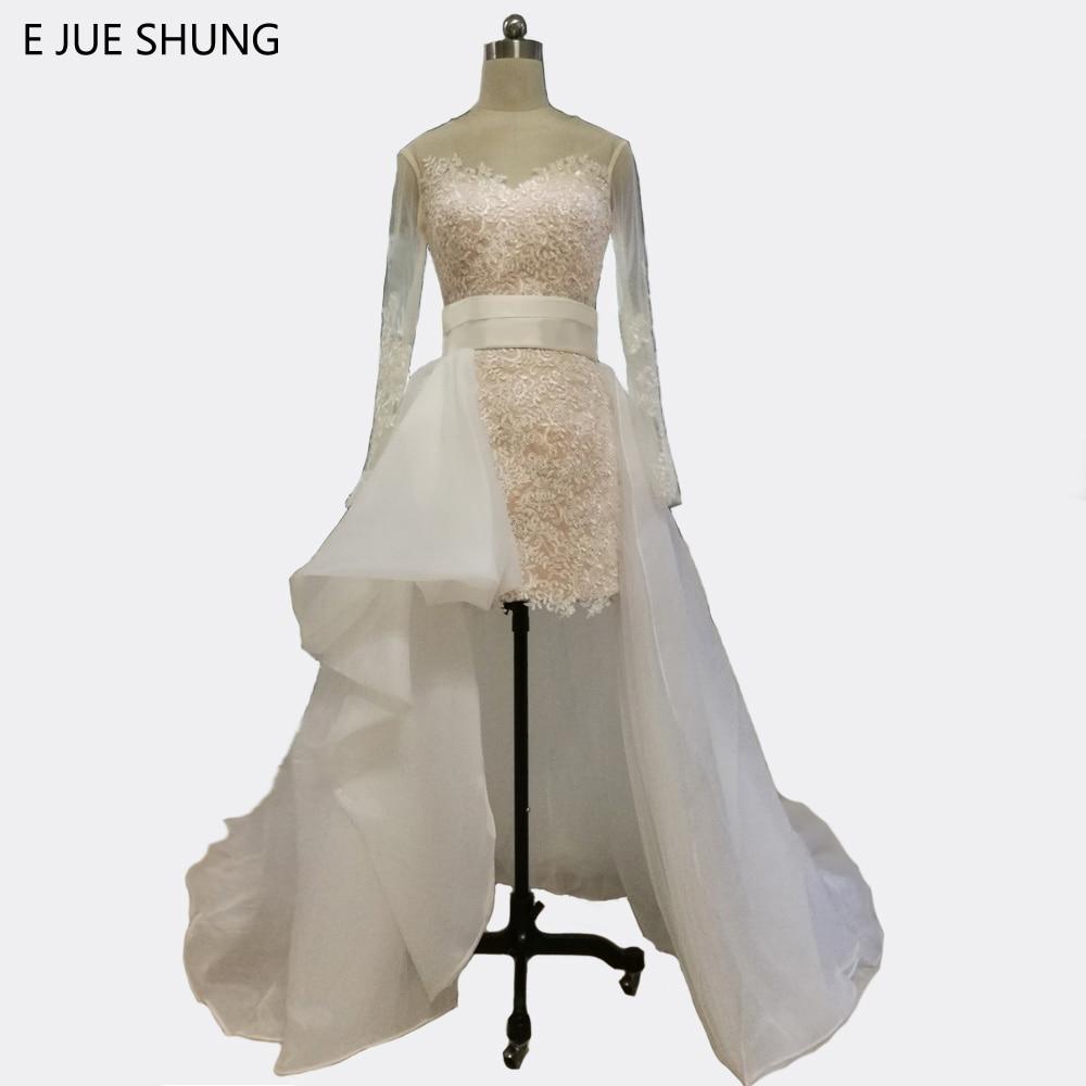 E JUE SHUNG Vit Lace Avtagbar Tåg Bröllopsklänningar 2017 Lång Ärmar Korta Korta Långa Tillbaka Bröllopsklänningar Trouwjurk