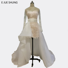 E JUE SHUNG White Lace Detachable Train Wedding Dresses 2017 Long Sleeves Front Short Long Back Wedding Gowns trouwjurk