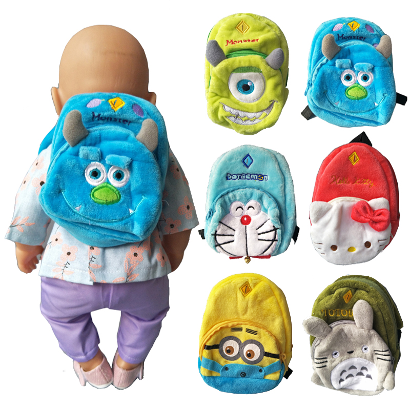 43CM Zapf baby dolls Cute backpacks school bag for 18 inch american girls doll bag accessories best Christmas gift to girl