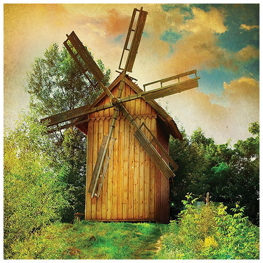 Wooden Windmill Decor Green Forest Jungle Traditional Holland Energy ...