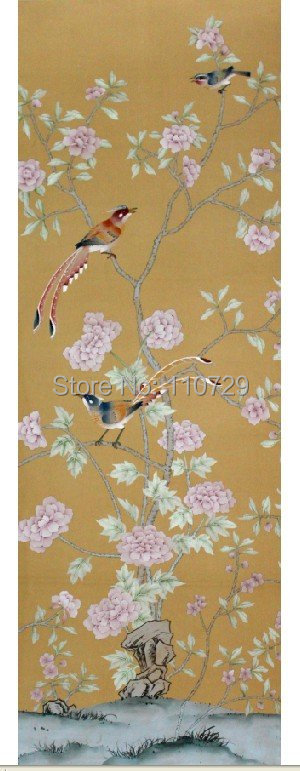 Customized Hand-painted silk wallpaper painting peony flower with birds hand painted TV/Bedroom/living room/dinning wall paper chi clothing clothes hand painted performance clothing blue and white peony stretch silk female artists painted custom
