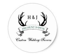 1.5inch The Hunt is Over Rustic Custom Wedding Favors Classic Round Sticker