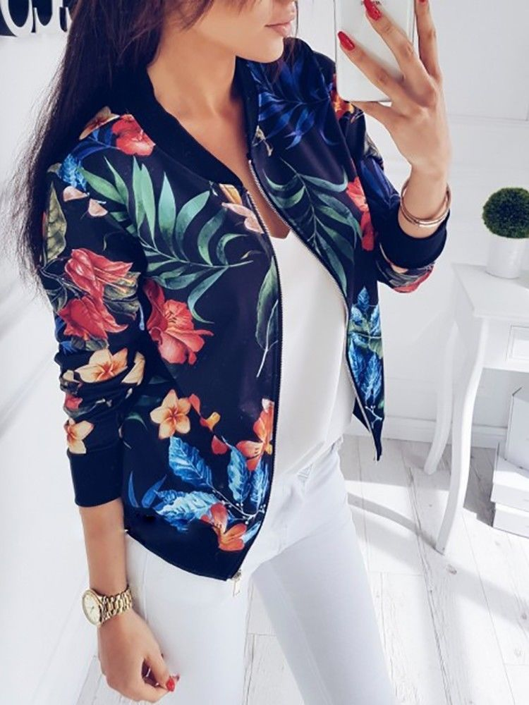 Women Coat Fashion Ladies Retro Floral Zipper Up Bomber Jacket Casual Coat Autumn Outwear Women Clothes  1
