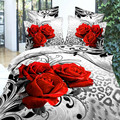 Ywxuege Red Rose Bed Cover Printed Cotton 4pcs,queen Size King 3d Bedding Set Duvet/comforter Cover Sets (bedclothes/bed Lines)