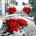Ywxuege Rosa Roja Cubierta de Cama Impreso Algodón 4 unids, queen Size Rey Juego de Cama 3d funda de Edredón/edredón Sets (ropa de cama/cama de Líneas)