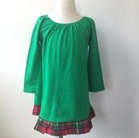 Christmas Beautiful Girls Unique Baby Girl Dress Boutique Girl Plaid Bottom Ruffle Green Long Sleeve Dress