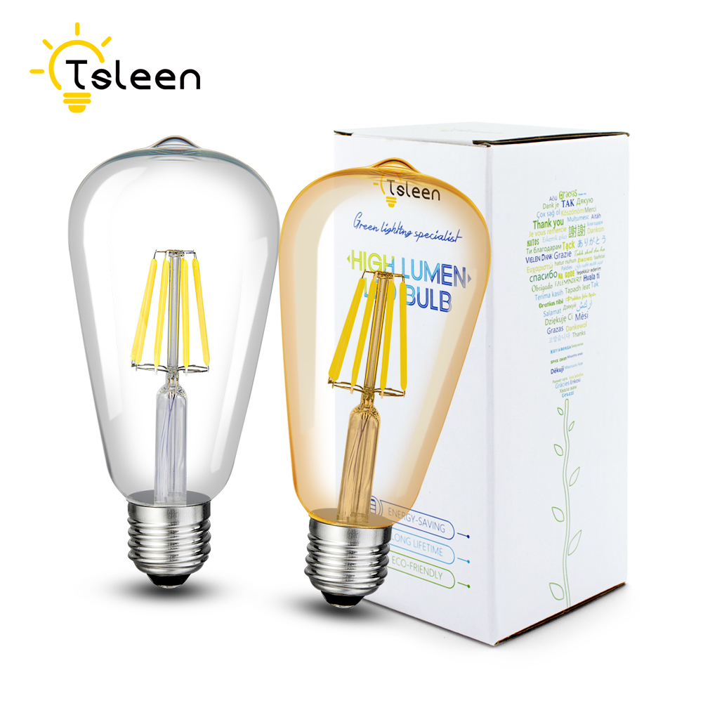 TSLEEN LED Filament Dimmable Lamp E26 220V 110V ST64 Retro Edison Light Bulb 16W Lamparas Led E27 Golden Glass Shell Globe Lamps retro lamp st64 vintage led edison e27 led bulb lamp 110 v 220 v 4 w filament glass lamp
