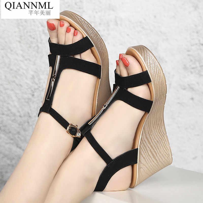 09f134e7f Qiannml Wedge Heels Gladiator Sandals Women Summer Shoes 2019 High Heel Platform  Sandals Ladies Plus Size