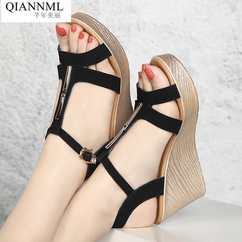 Qiannml Wedge Heels Gladiator Sandals