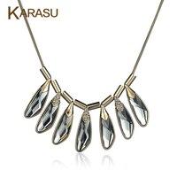 Karasu lüks altın renkli peacock feather şekil gri cam kadınlar için parlak kristal kolye kısa zincir kolye takı hediyeler