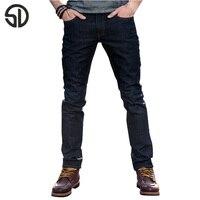 Jeans New Arriving Cotton Men Jeans Straight Casual Trousers Regular Jeans Men Deep Blue Design Raw