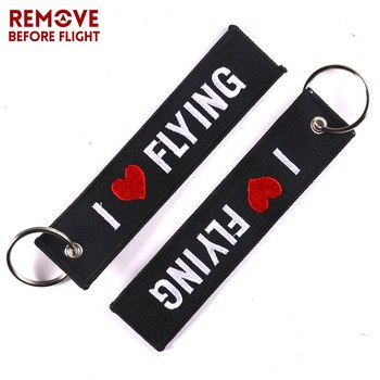 Wholesale Remove Before Flight OEM Keychain Jewelry Safety Tag I LOVE FLYING Key Ring Chain for Aviation Gifts 100 PCS/LOT