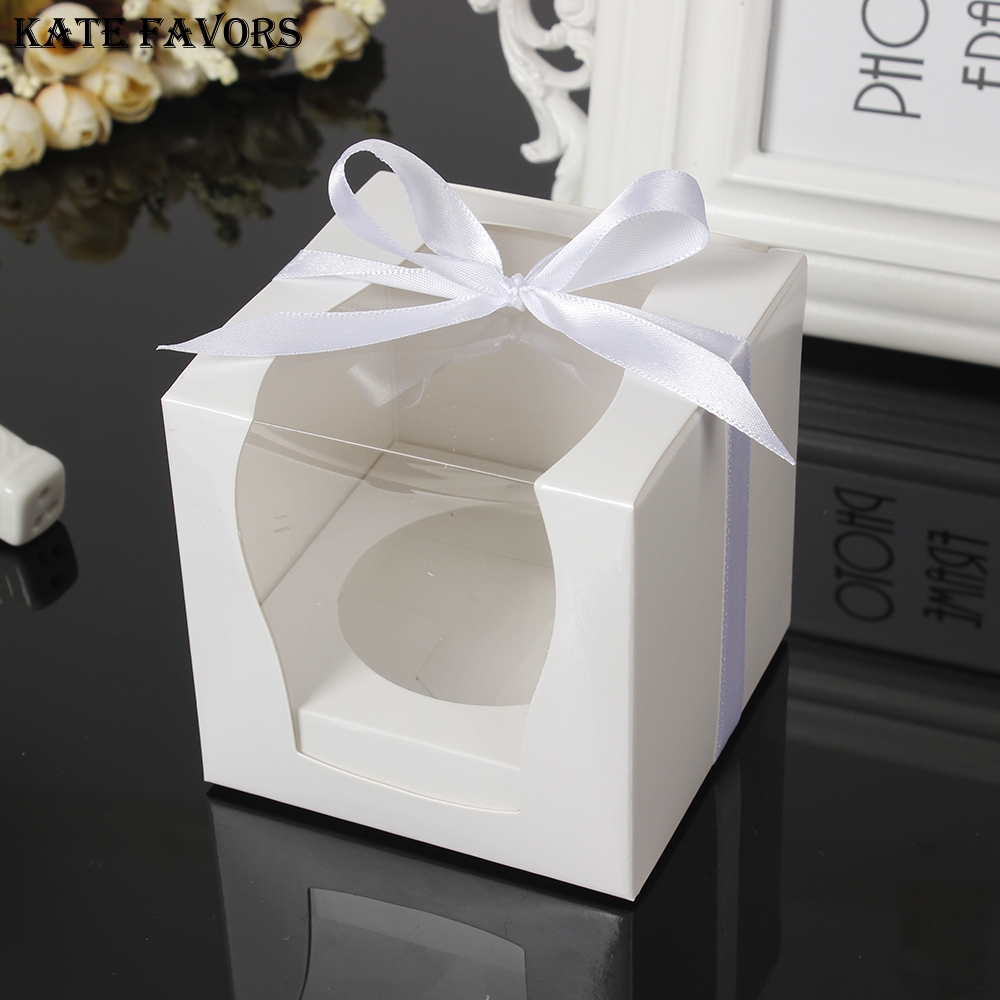 White Paper Single Cupcake Box With PVC Window Tow Muffin Box Party ...