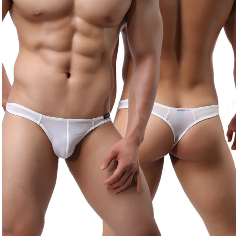 Novelty Sexy Mens G String Thong Underwear Ultra Thin Ice Silk Bulge Jock Exotic Thongs Male ...