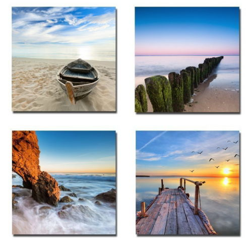 Ocean Beach: 4 Piece Canvas Art Ocean Beach Sunrise Canvas Art