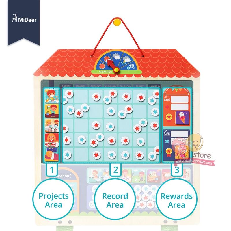 Micerf en bois magnétique récompense activité responsabilité graphique calendrier enfants calendrier jouets éducatifs pour enfants cible conseil - 2