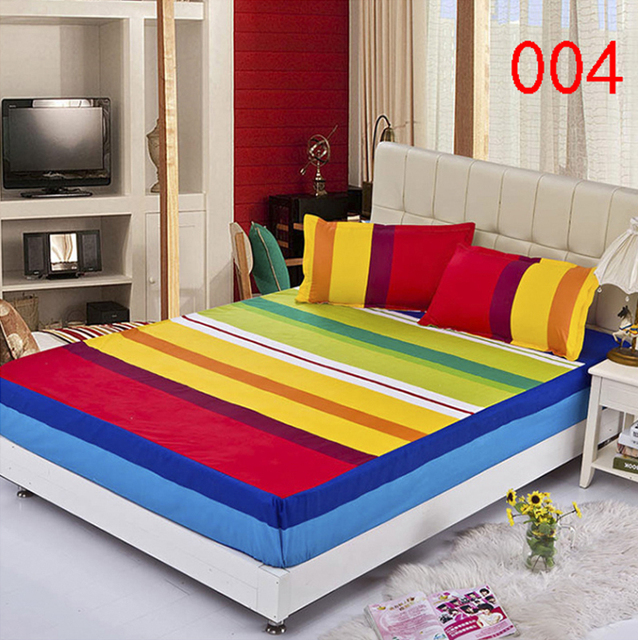 Rainbow Polyester Fitted Sheet Single Double Bed Sheets Fitted Cover Twin  Full Queen Mattress Cover Bedspread