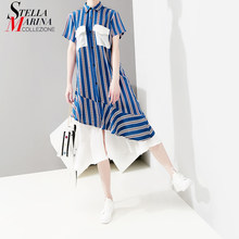 2019 Korean Style Summer Women Blue Striped Shirt Dress Pockets & Ruffles Female Casual Party Club Midi Dresses Robe Femme 5052(China)