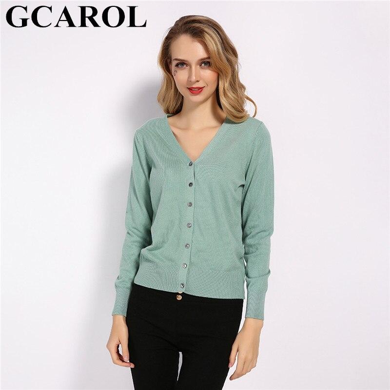 GCAROL nouveau col en V femmes bonbons 30% laine Cardigan automne hiver minimaliste OL courte tricot veste élégant Stretch tricots S-2XL