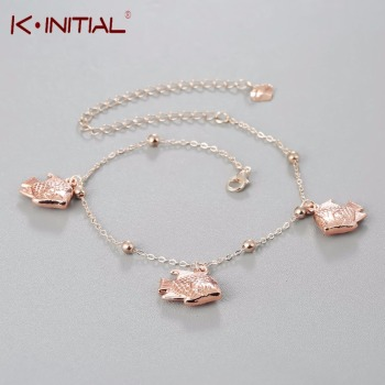 Kinitial New Fashion Anklet Accessories Women's Sexy Fish Dangle Chain Ankle Bracelet Anklet Foot Rose Gold Jewelry