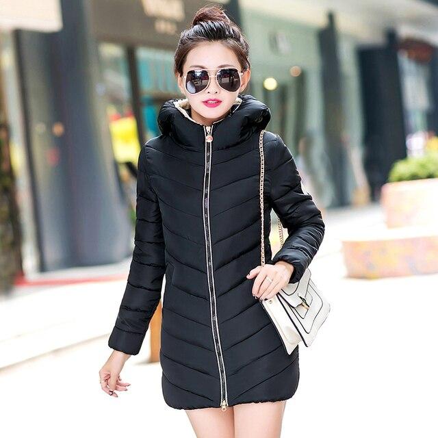 Новые женские вниз хлопка куртка зимняя мода 2016 Девушки дополняется толще случайные куртки длинный отрезок женщины пальто Плюс размер