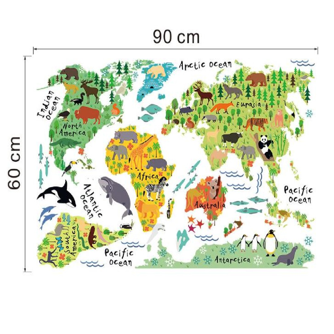 Hot sale removable diy mural wallpaper animal world map wall hot sale removable diy mural wallpaper animal world map wall stickers decal for home decoration free shipping in wall stickers from home garden on gumiabroncs Gallery