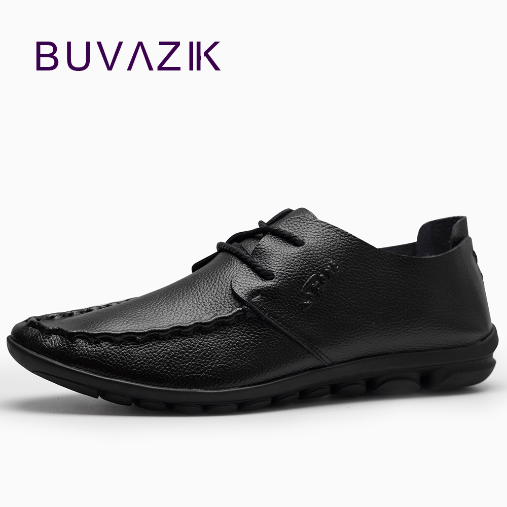 2018 baru pria fashion sepatu kulit kasual, Penyerap keringat bernapas asli sepatu kulit, Lembut dan hitam muda ukuran 10
