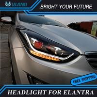 Car LED Strip Head Lamp LED Turn Light for Hyundai Elantra LED Headlight 2012 2016 Dual Projector DRL Bi xenon