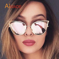 309b9fd77be Aimade Vintage Women Cat Eye Sunglasses Fashion Female Hollow Shades  Superstar Retro Big Cateye Mirror Sun