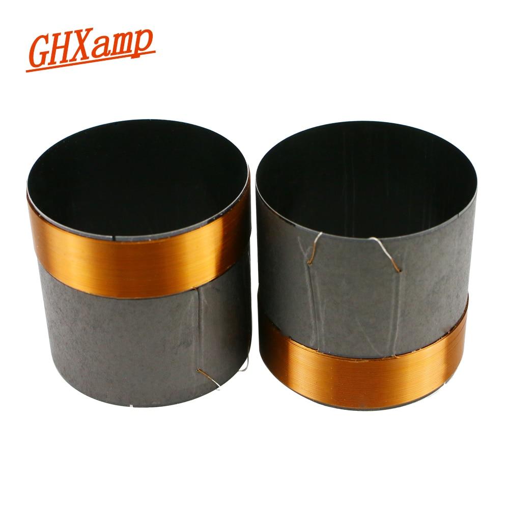 GHXAMP 50.5mm Bass Voice Coil Woofer 8ohm Repair Parts Black Aluminum Round Copper Wire 2PCS