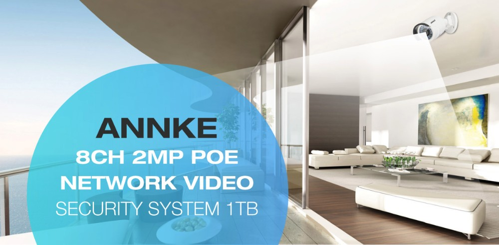 ANNKE Full 1080P Power Ethernet Security Camera System 6MP 8ch NVR 4PCS 2MP  HD IP Outdoor Cameras With 100ft Night Vision