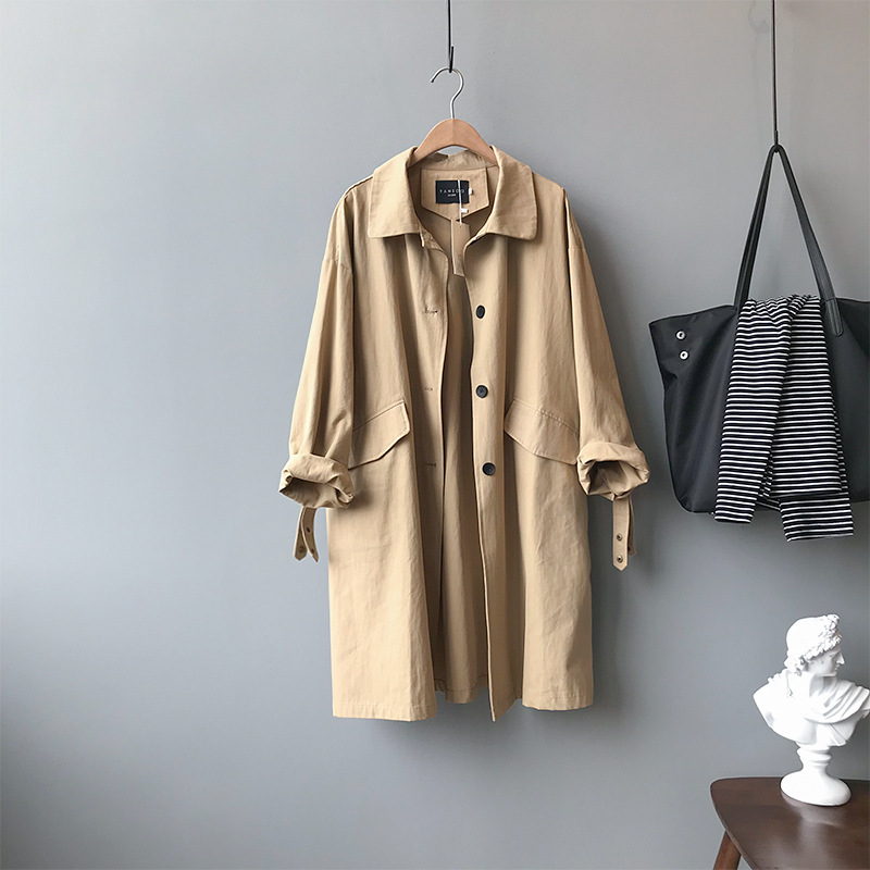 High Quality Trench Coat 2019 Autumn Long Trench Coat Women Fashion Classic Single Breasted Belt Casual Business Outerwear 0393