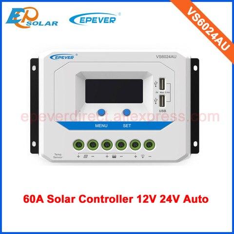 painel de energia solar carregador controlador pwm 60a vs6024au para 12v 24v tipo