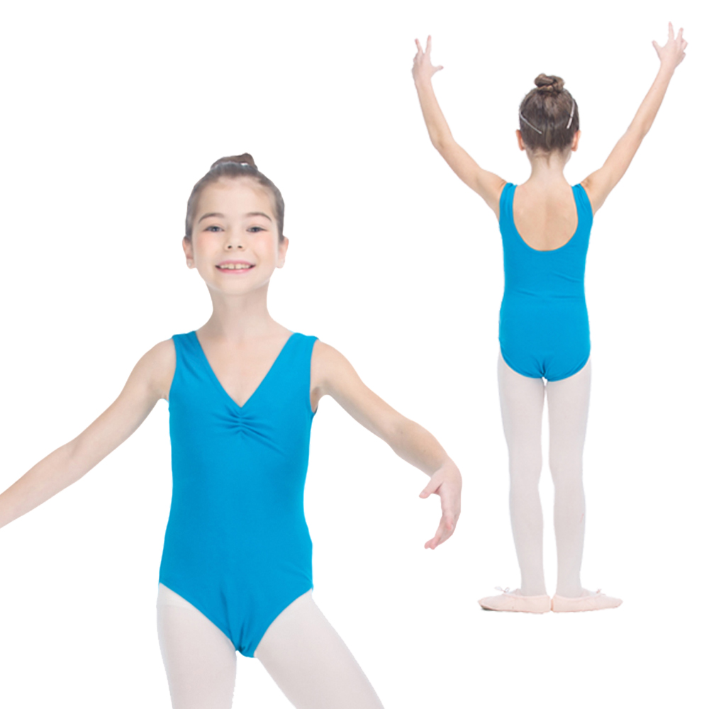 Танцора выбор дети хлопок/лайкра Танк купальники с Pinch спереди голубой реки и более Цвета Девушки Одежда для бальных танцев