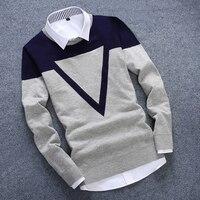 Новый вязаный свитер человек Треугольники модные Для мужчин Повседневное хлопок осень Для мужчин свитера Ненатуральная рубашка воротник У...
