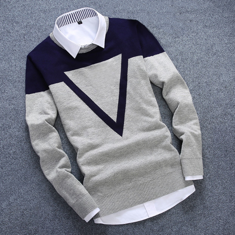 New Knitted Man Sweater Triangle Fashion Men Casual Cotton Autumn Mens Sweaters Fake Shirt Collar Keep Warm Winter Pull Homme