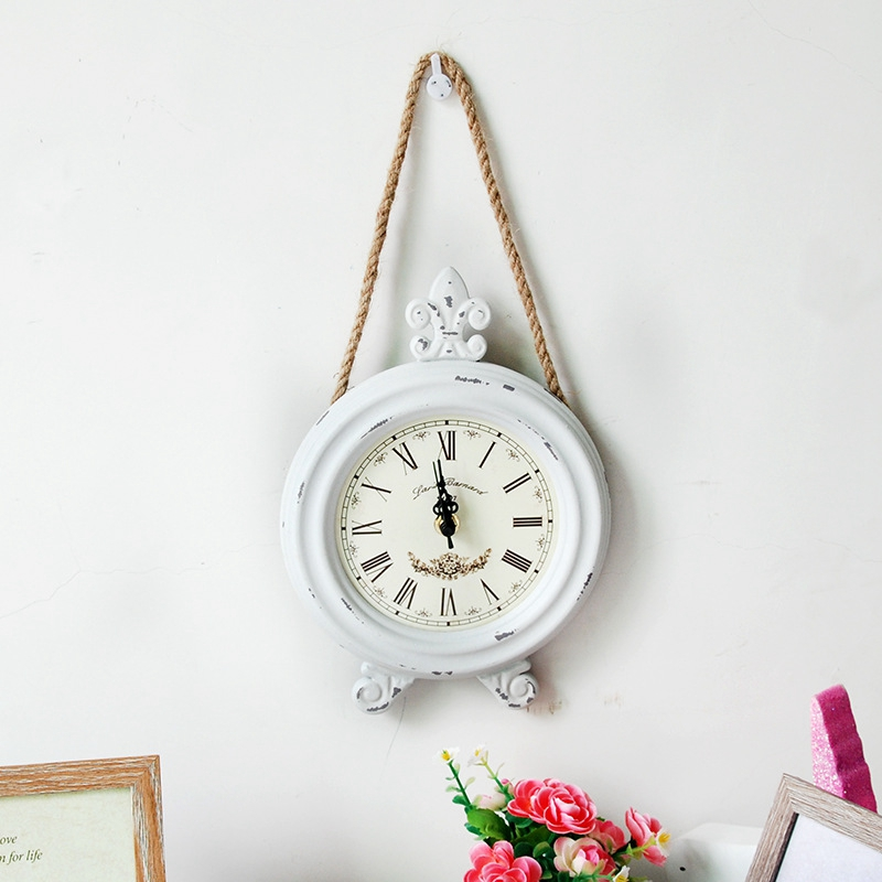 Creative Iron Vintage Decoration Relogio De Parede Home Living Room Wall Decoration Clock New Arrival Simple White Wall Clock