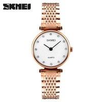 SKMEI Brand Luxury Ladies Dress Watches Women Quartz Watch Stainless Steel Casual Womenes Wristwatches 30M Waterproof