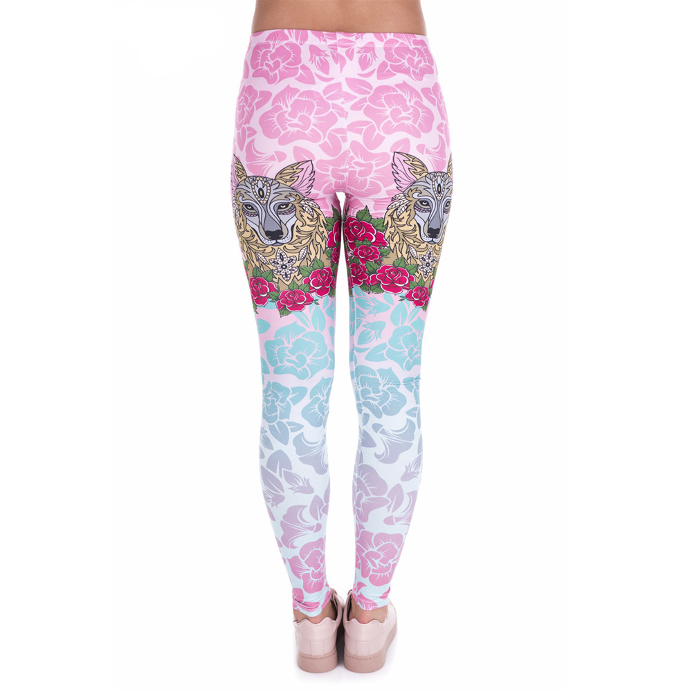 Fccexio New Style Women Leggings High Waist Fitness Legging Fox And Rose Printed Leggins Female Pants Workout Slim Trousers