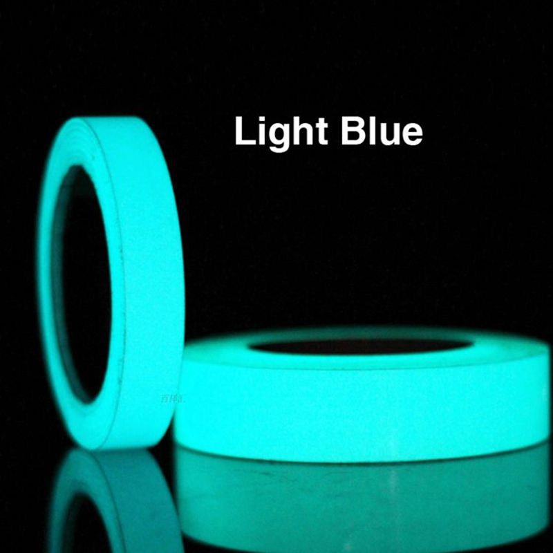 Light Blue 3 sizes 5m Length Harmless Non-toxic Self-adhesive Safety Warning Luminous Tape, Glow In The Dark