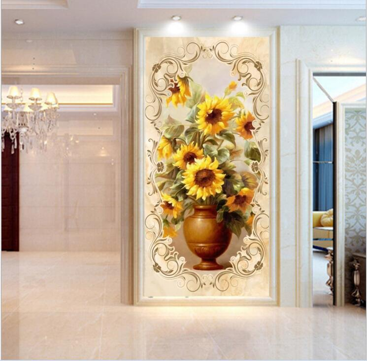 Custom photo flower murals for wall large Wallpapers Wall Decor Painting Living Room Entrance Hallway Flower Papel De Parede 3D large photo wallpaper bridge over sea blue sky 3d room modern wall paper for walls 3d livingroom mural rolls papel de parede